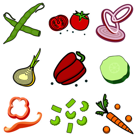 pepper grinder: Nine images of different foods - ginger, spinach, parsley, celery, tomato, mushrooms, green onions, corn, asparagus, bell pepper, cucumber, green beans, lemon, sausage, meat grinder, hot dog, chicken carcasses, cassette eggs, fruit compote