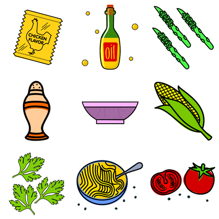 asparagus: Nine images of different foods - Chinese noodles, ginger, rosemary, soy sauce, nut butter, celery, tomato, mushrooms, green onions, corn, asparagus