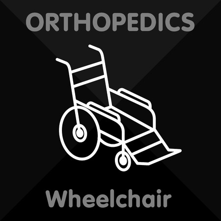 orthopedics: Icons in a linear style on Orthopedics - shoes, mattresses, walkers, wheelchairs, crutches, orthopedic insoles, bandage, corset.
