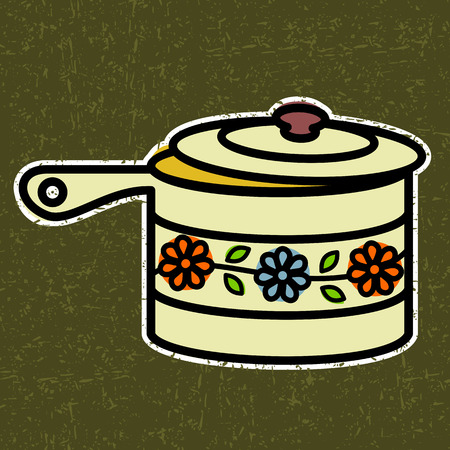 saucepan: saucepan with lid ajar