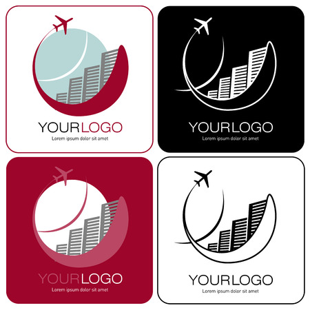 tourist logo with hotels and plane