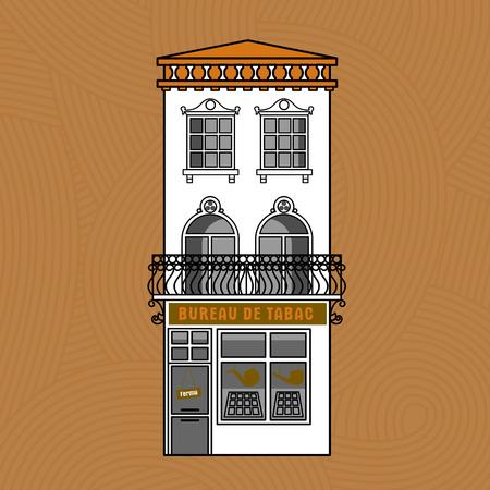 facades of houses in the old French town Vector