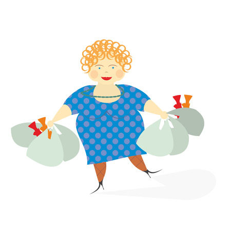 woman with grocery bags after shopping Vector