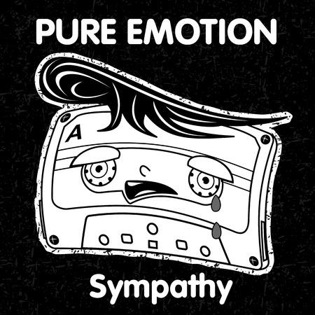 emo��es: Caracteres na forma de fitas cassete expressar suas emo��es Ilustra��o