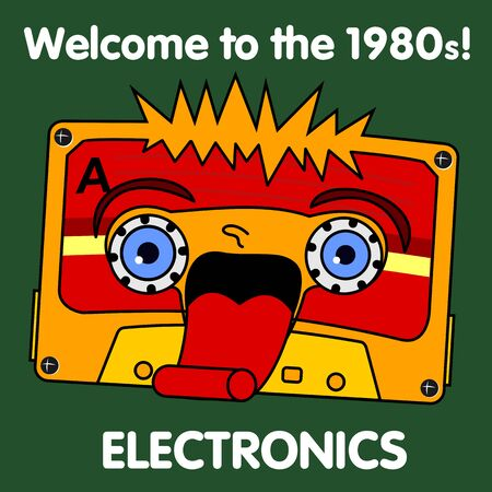 pop culture: Welcome to the 1980s! Characters pop music in the form of compact cassettes. Illustration
