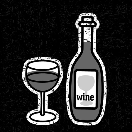 unopened: Bottle and glass of red wine