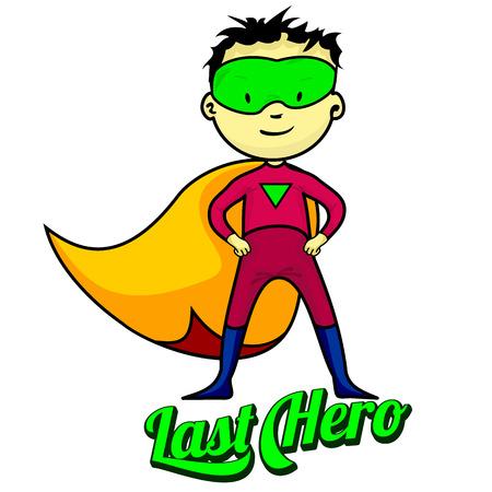 少年に扮したスーパー ヒーロー別の感情を示しています。  イラスト・ベクター素材