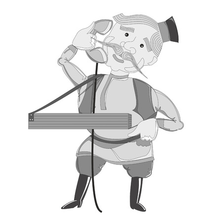 festiva: Russian merchant-peddler with phone
