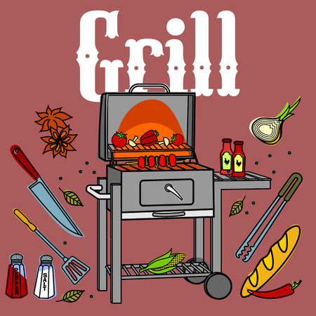 kabob: Vector illustration of the grill and barbecue beef, pork and chicken, grilled image ovens, barbecue tools and vegetables.