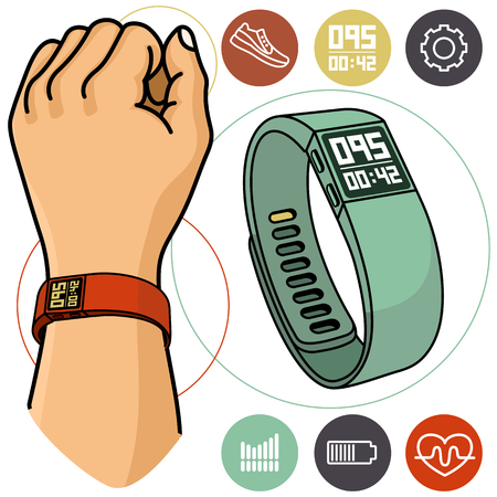 active lifestyle: Modern portable electronic devices. Fitness trackers for an active lifestyle. Illustration