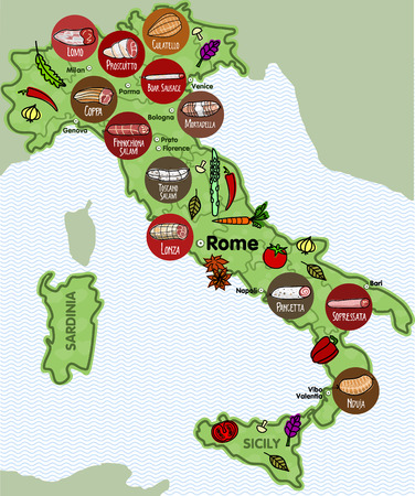 Vector illustration of the famous sausages from different regions of Italy Vector