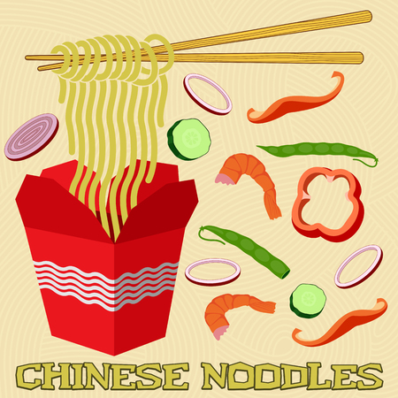 background red: Fideos chinos y japoneses en un rect�ngulo. Heridas en los palillos, rodeado de verduras en cubitos. Vectores