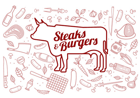 lamb cartoon: Vector illustration of beef pork lamb and chicken vegetables image bread drinks and cooking tools.