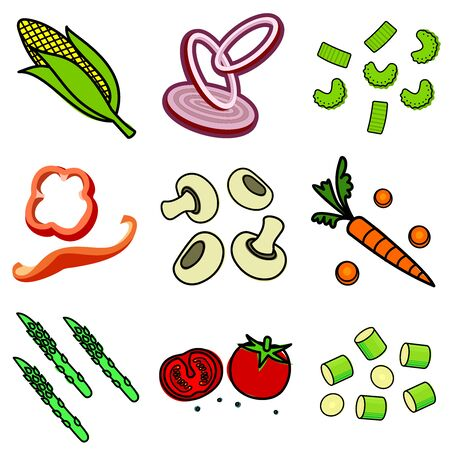 carcasses: Nine images of different foods - ginger, spinach, parsley, celery, tomato, mushrooms, green onions, corn, asparagus, bell pepper, cucumber, green beans, lemon, sausage, meat grinder, hot dog, chicken carcasses, cassette eggs, fruit compote