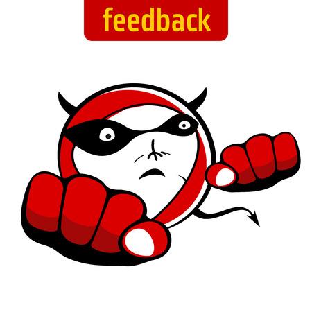 the tail: ilustraci�n detallada de un diablo rojo estilizado - cabeza, cuernos, cola con una flecha - muestra diferentes emociones. Vectores