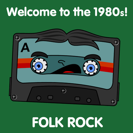 pop music: Welcome to the 1980s! Characters pop music in the form of compact cassettes. Illustration