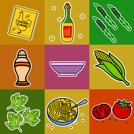 soy: Nine images of different foods - Chinese noodles, ginger, rosemary, soy sauce, nut butter, celery, tomato, mushrooms, green onions, corn, asparagus