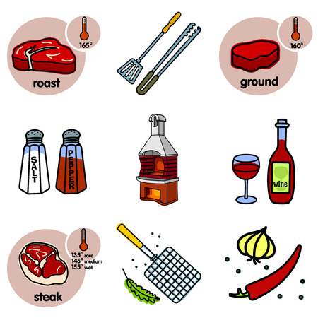 grader: Nine images of different foods - bottle and glass of wine, oven-grill, chili pepper, garlic, salt, pepper and grill for grilling, roast, ground, steak Illustration