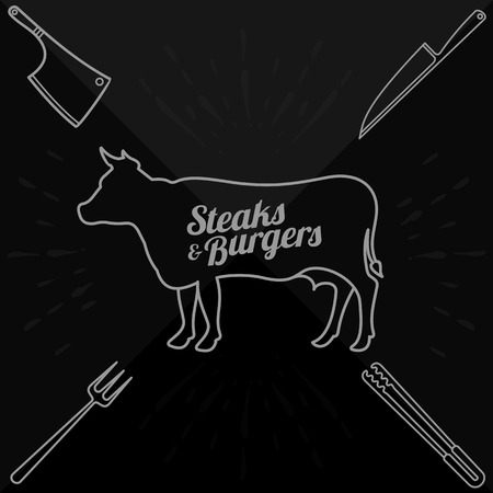 grill tongs sausage: Vector illustration of beef, pork, lamb and chicken, vegetables image, bread, drinks and cooking tools.