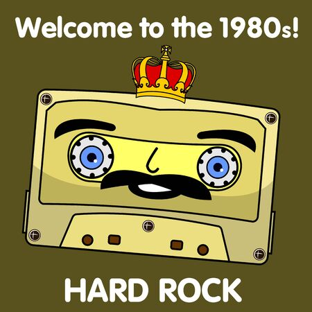 glam rock: Welcome to the 1980s! Characters pop music in the form of compact cassettes. Illustration