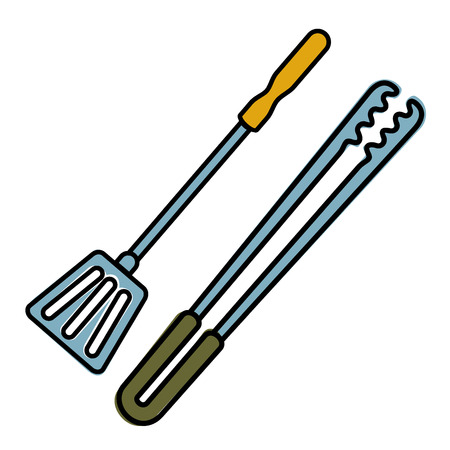 tongs: Tongs and shovel barbecue Illustration