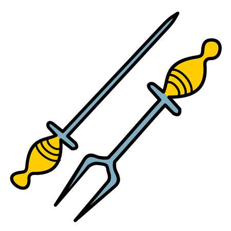 sacapuntas: Afilador de cuchillos y tenedor para la barbacoa Vectores