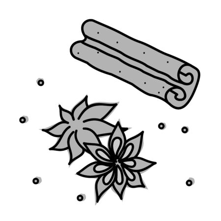 star anise: Spices - cinnamon, star anise, pepper Illustration