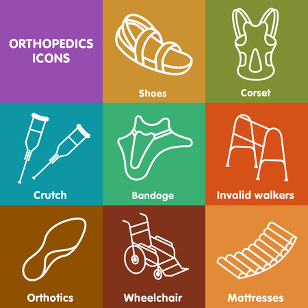 insoles: Icons in a linear style on Orthopedics - shoes, mattresses, walkers, wheelchairs, crutches, orthopedic insoles, bandage, corset.