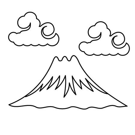 Japanese symbols- wave, Fuji, Sakura