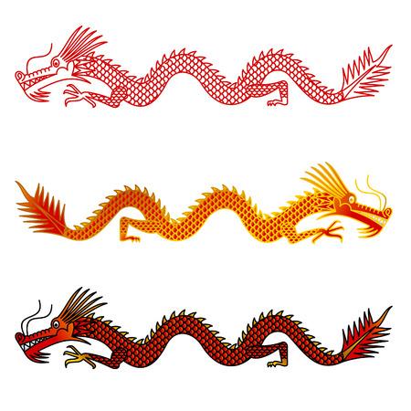 Asian dragons set on white background