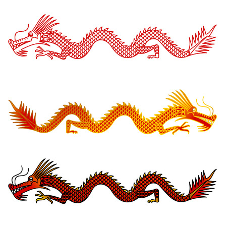 Asian dragons set on white background