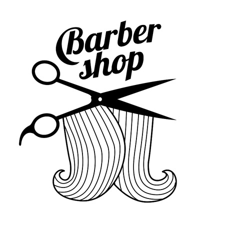 Logo for the Barbershop - beard, hair, scissors, razor, comb