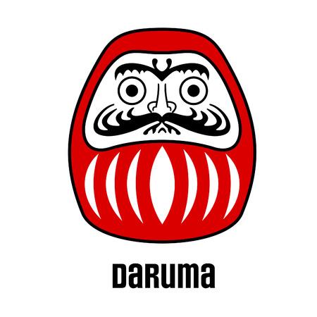 perseverance: Daruma - Japanese traditional doll, symbol of perseverance, popular gift, encouragement, temples, monk, Buddhist monk, meditation. Vector illustration cartoon.