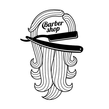 male grooming: Logo for the Barbershop - beard, hair, scissors, razor, comb