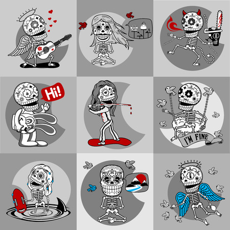 serenade: Nine characters skeletons in different situations. There are 4 variants of colors of the characters and backgrounds. All objects and scalable vector.