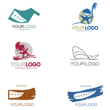 dentures: Set of 9 logos for dental, denture and private clinics.
