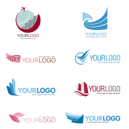Set of 9 Logo for tourism companies, travel agencies Illustration
