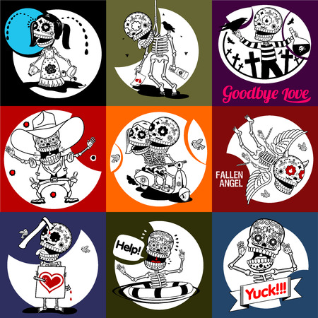 scalable: Nine characters skeletons in different situations. There are 4 variants of colors of the characters and backgrounds. All objects and scalable vector.