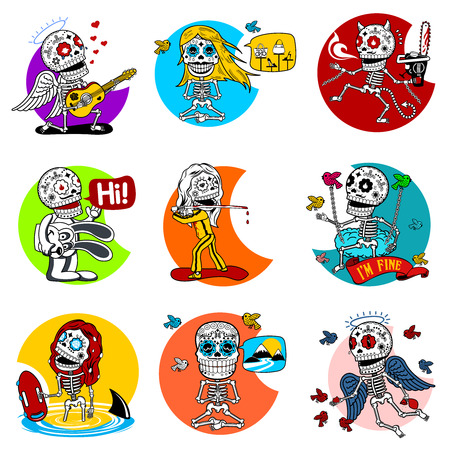 Nine characters skeletons in different situations. There are 4 variants of colors of the characters and backgrounds. All objects and scalable vector.