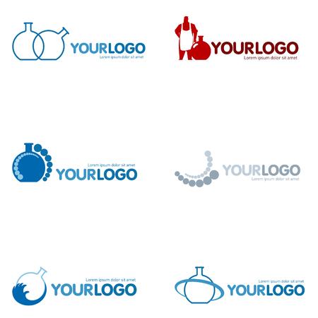 Conjunto de 9 logotipo moderno diseño conjunto: logotipos de diversas compañías, como agencia web, puesta en marcha, casa de software, ingeniería, investigación y desarrollo, química, industria farmacéutica, nuevos negocios, consultoría y optimización