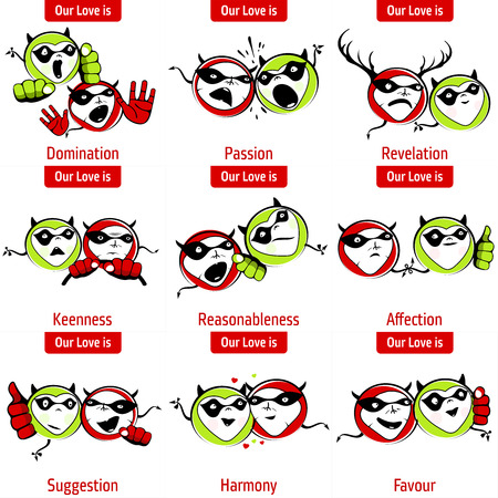 detailed illustration of a stylized red devil - head, horns, tail with an arrow - shows different emotions.
