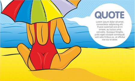 cute girl: Vector illustration of a woman in a red swimsuit with parasol on the beach. Quote bubble. Illustration