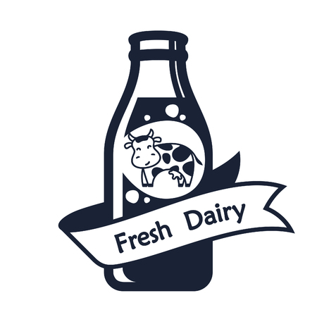 distilled: Set of labels and icons for milk
