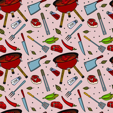 grill tongs sausage: Seamless pattern with meat steaks, BBQ, vector food texture Illustration
