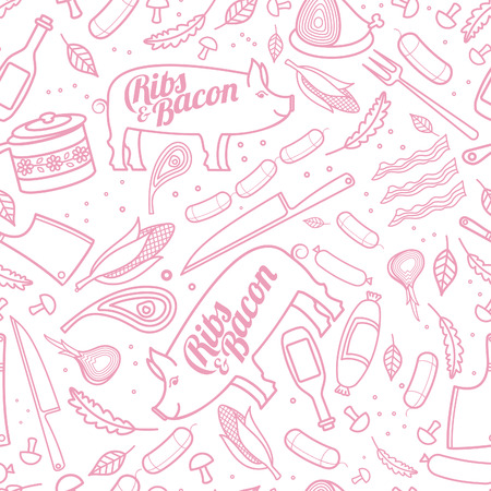 porc: Seamless pattern with porc, ribs, bacon, vector food texture
