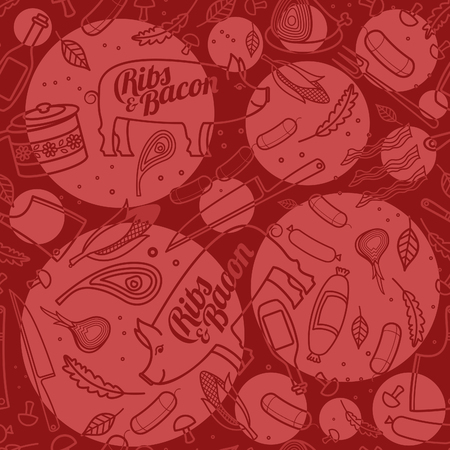ribs: Seamless pattern with porc, ribs, bacon, vector food texture