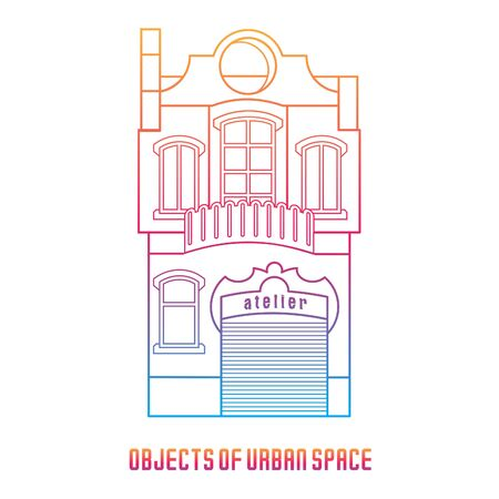 classical style: Objects of urban space. The facades of the buildings in the classical style. Color vector illustration.