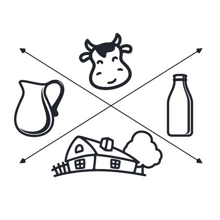 latte fresco: Set di etichette e icone per il latte