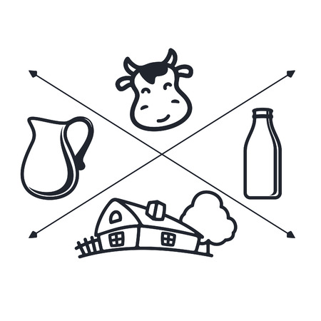 fresh milk: Set of labels and icons for milk
