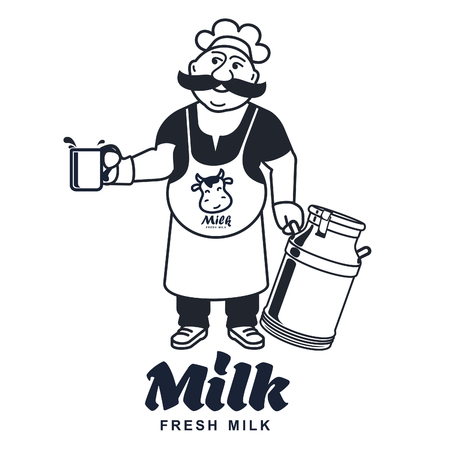 rich in vitamins: Label and icons for milk